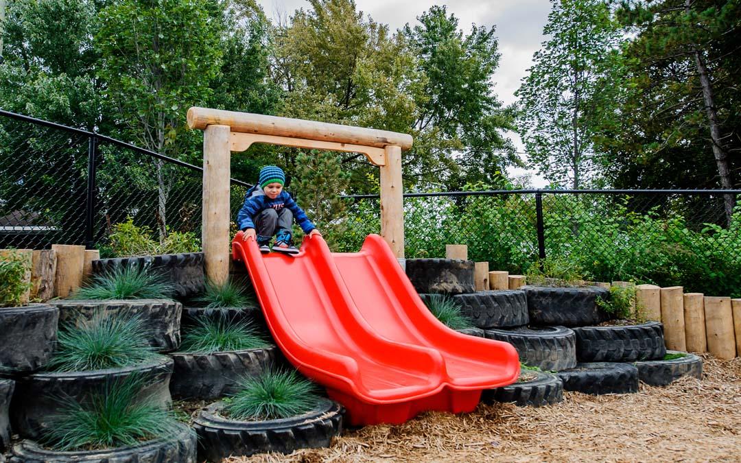 natural playground slide