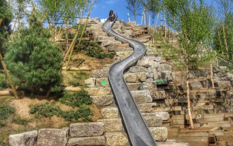 Governors island new york hill slide