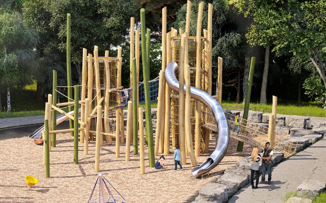log tower slide playground