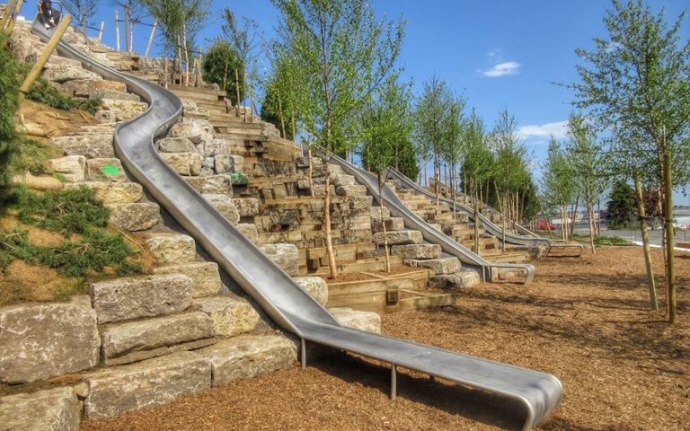 governors island playground earthscape slides steel