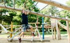 monkey bars playground hanging natural slide
