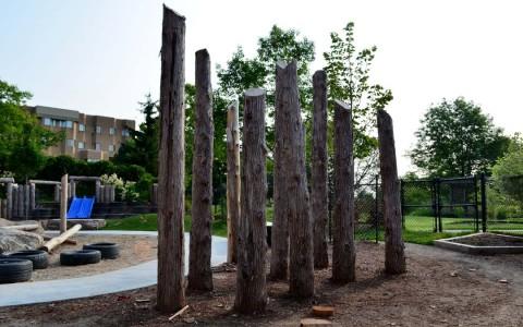 Natural playground play posts