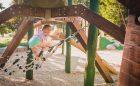 natural playground wood climber net outdoor