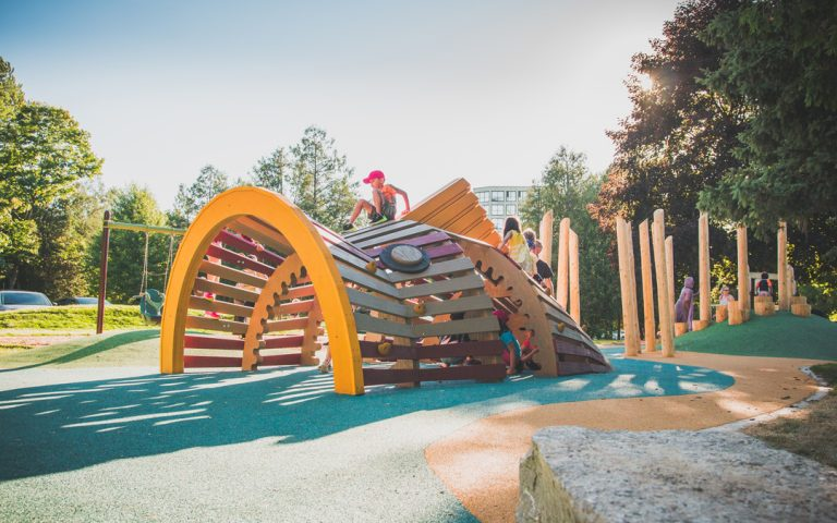playground natural bass fish sculpture canadian guelph local wood natural