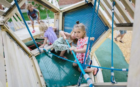 Rope climbing children custom architecture playground Grange Park