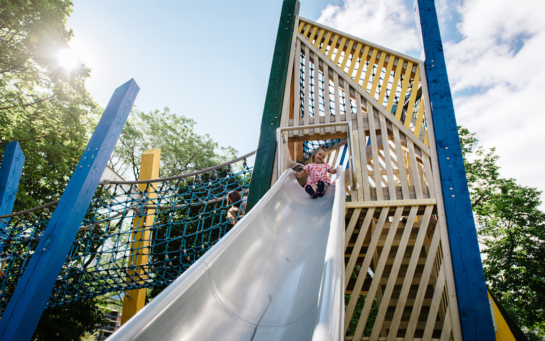 Tower slide wood rope tunnel