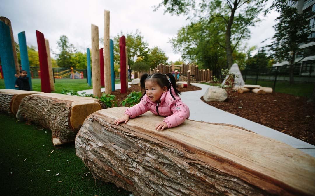 log bench natural playground