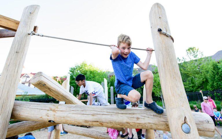 log jam rope balance structure