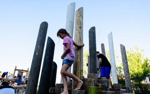 log mountain wood climb play themed