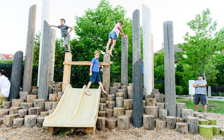 mountain themed custom playground climb wood