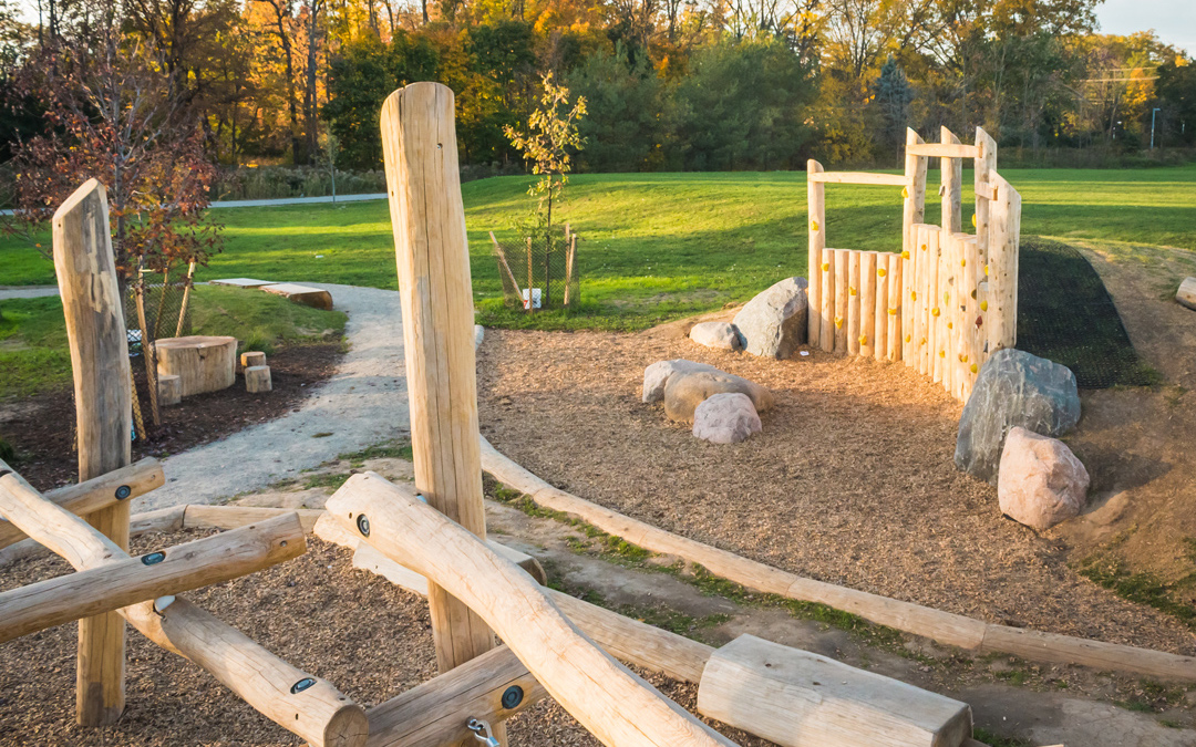 log jam climbing wall natural playground
