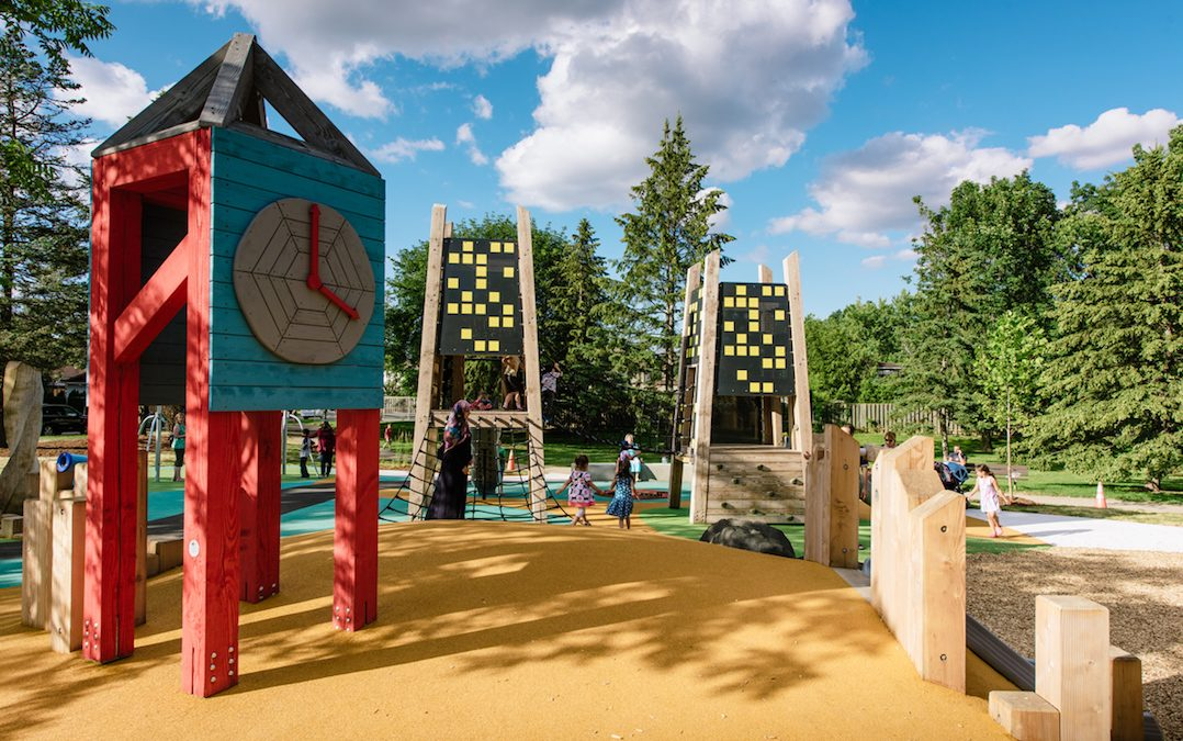 Tower sculpture wood playground accessible clock