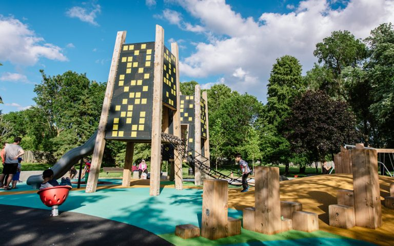 wood playground tower slide poured rubber
