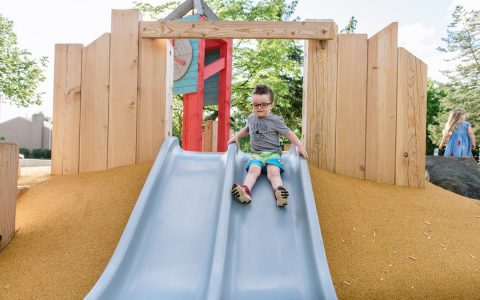 embankment slide poured rubber natural playground