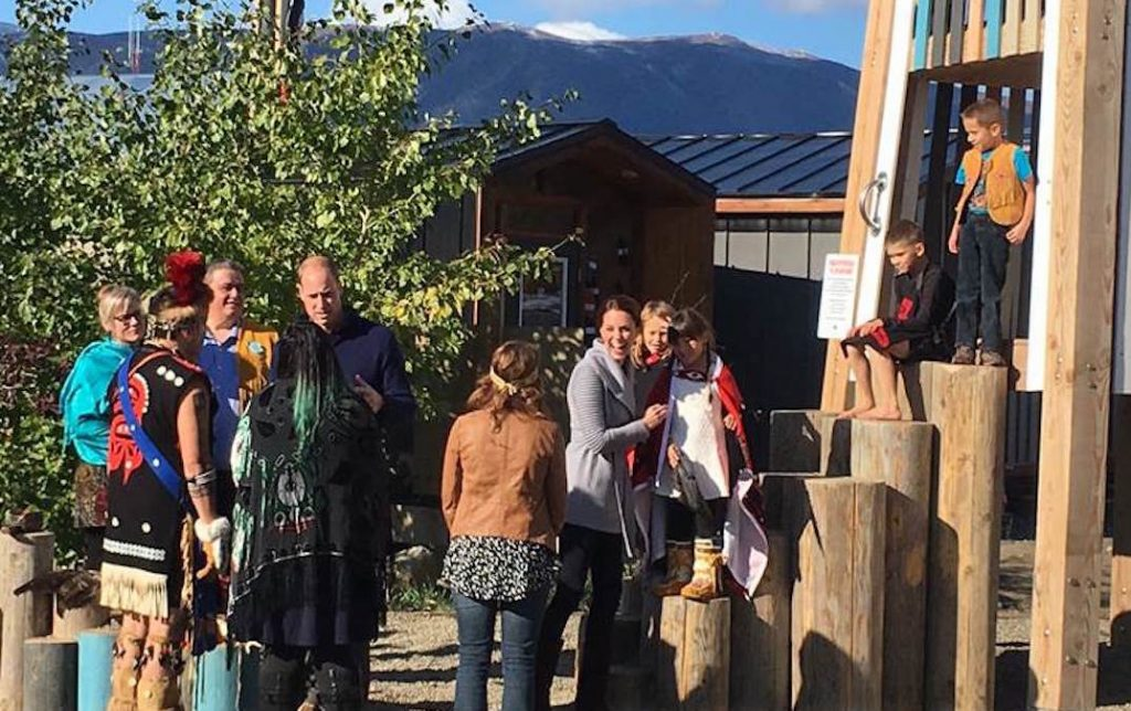 Duke and Duchess of Cambridge at Carcross playground