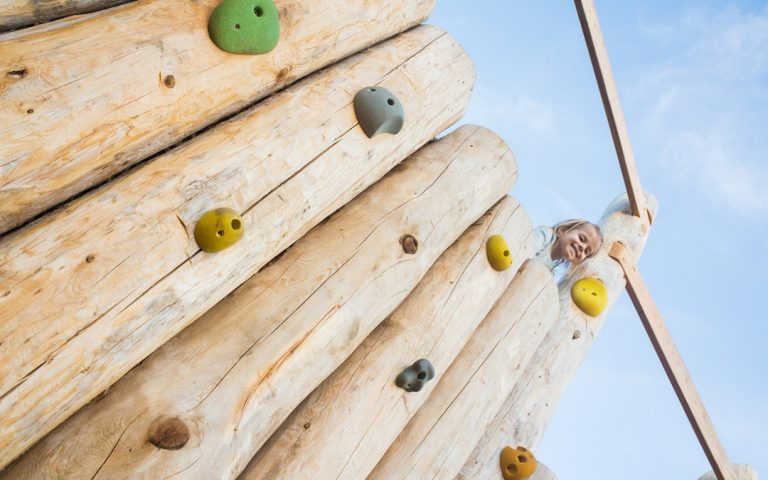 playground climbing wall natural wood