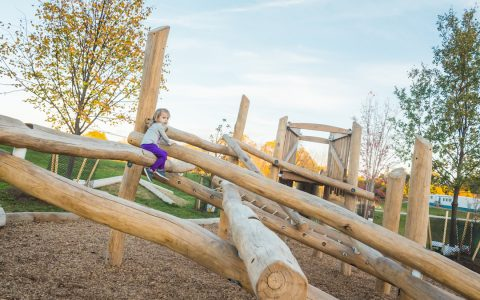 log jam playground climbing active play