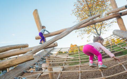 log jam playground natural net climbing
