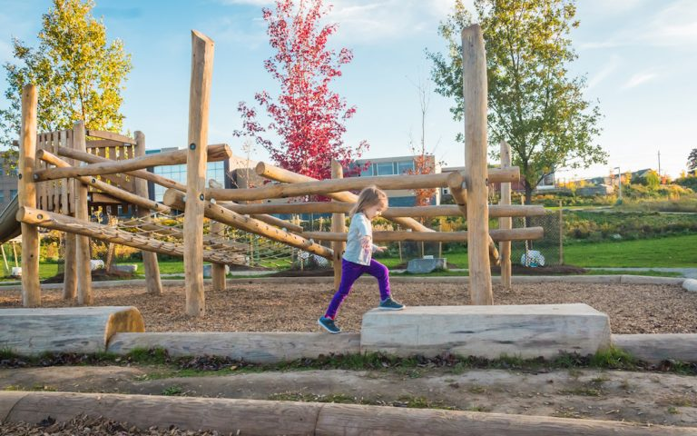 playground natural log bench trees log jam