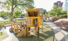 active climbing playground natural tower wood structure