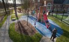 oakville ontario natural playground wood timber tower slide
