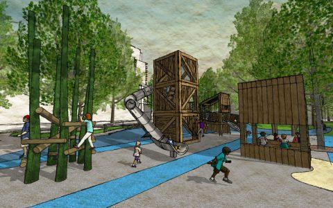 tower sculpture log climber market playground
