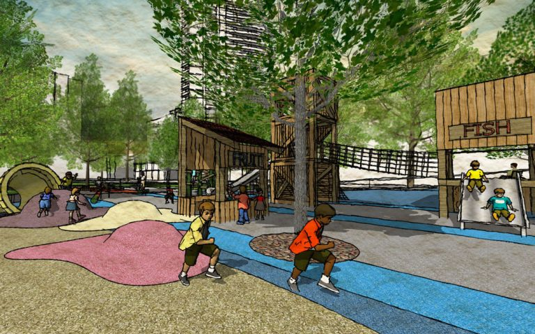 market themed playground natural wood