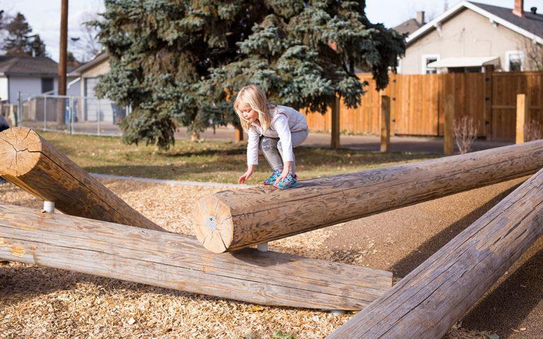 Alberta natural playground log climber