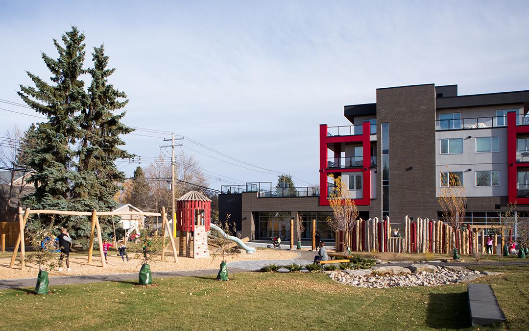 Calgary Mills Park wood playground