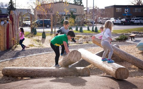 Calgary natural playground wood climber