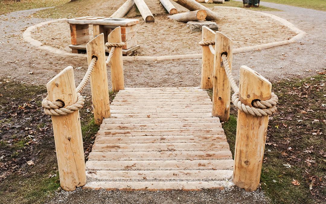 hamilton childcare wood bridge log climber earthscape play
