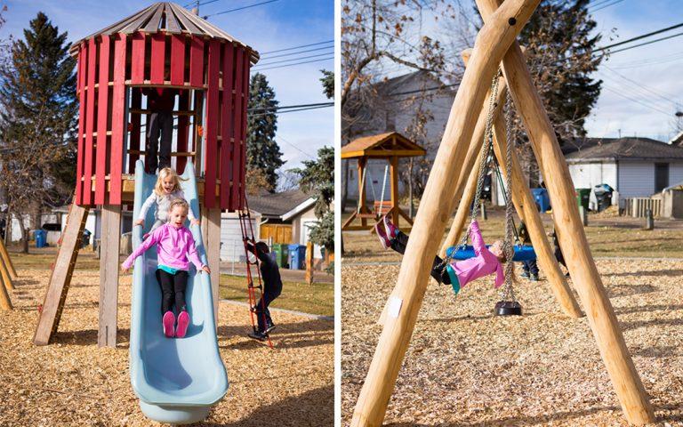 Mills Park Calgary natural playground tower wood swings