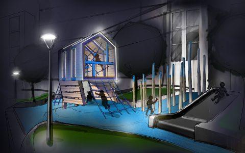 seattle washington playground wood lighting night modern