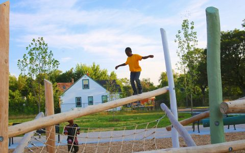 balance playground kids detroit revitalize park play space outdoor natural