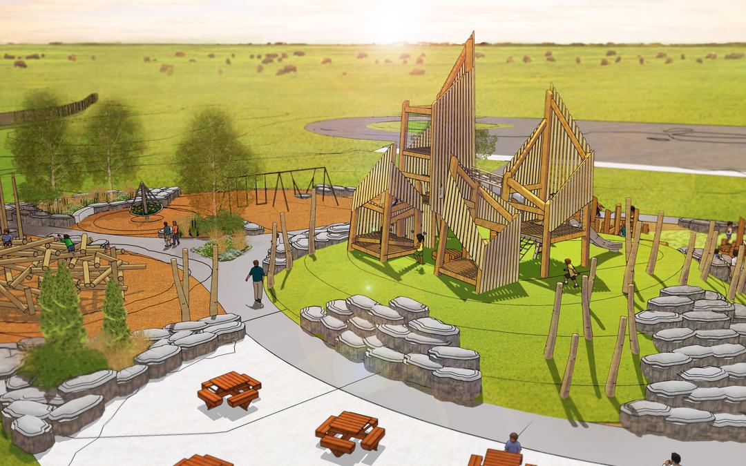 saskatchewan playground boulder log towers swings timber wood