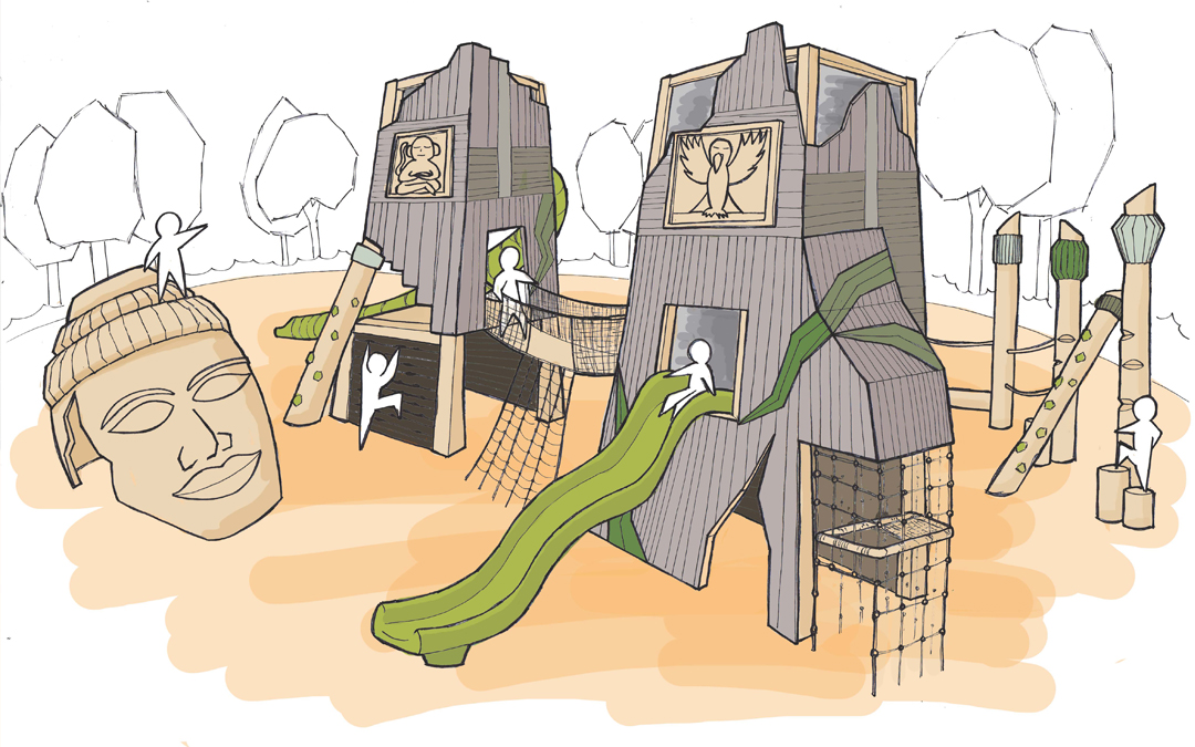 jungle playground concept sketch ruins temple columns climbing slides sculpture tower slide