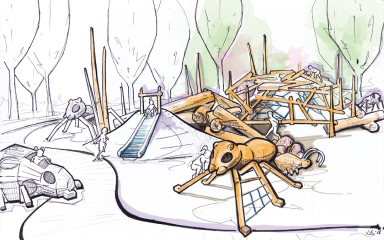 natural playground wood ants nest climbing slide bugs insects sculpture