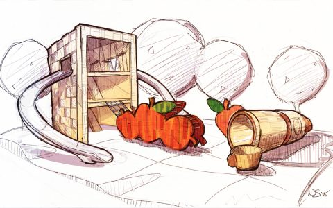picnic playground concept sketch basket apple climber thermos sculpture slide tower