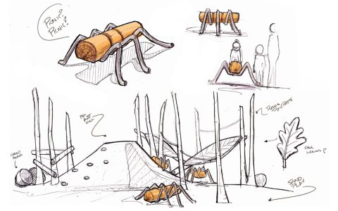 sketch playground concept ants anthill picnic post ropes sculpture wood