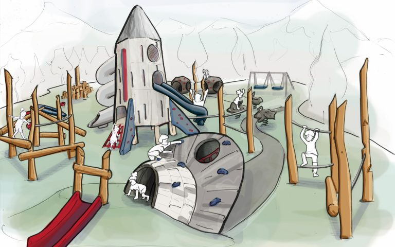 space playground concept sketch ufo rocketship spacecraft themed slide climbing
