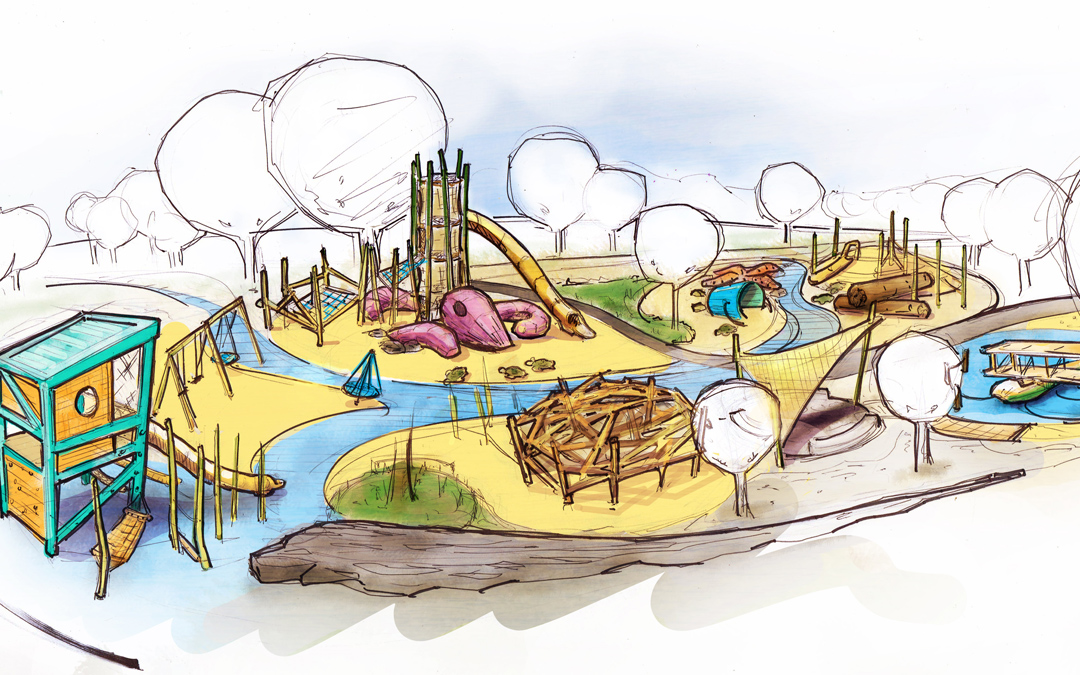 St Petersburg Pier florida natural playground marine kraken logs towers slides sculptures theme