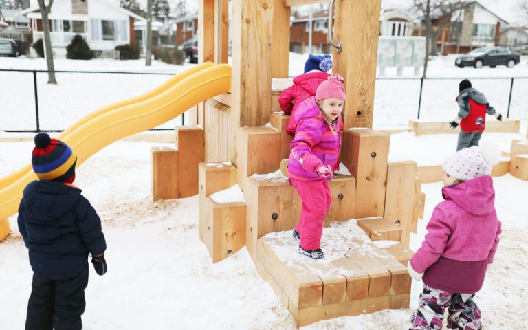 hamilton ontario child care wood playground slide climber balance beam