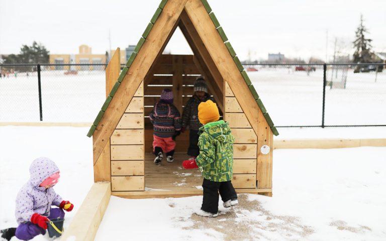 hamilton ontario natural wood playground cabin hut