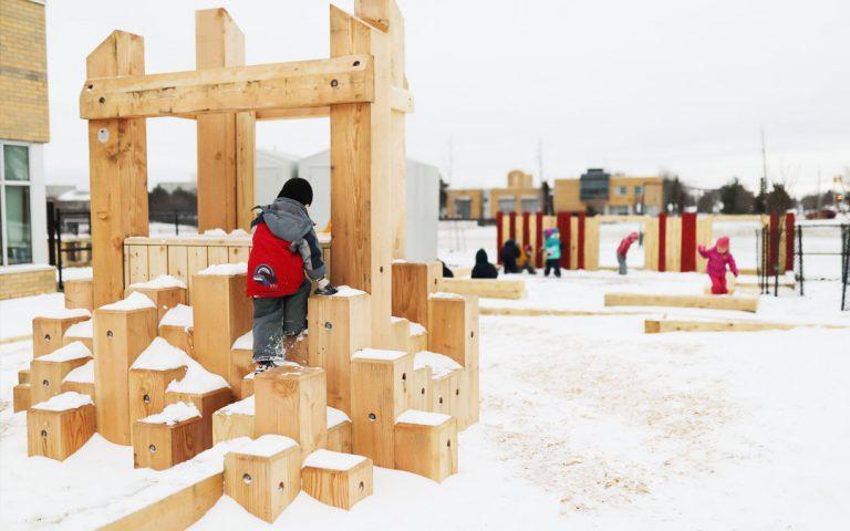hamilton ontario wood playground slide palisade wall balance beam climber