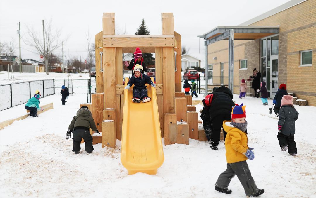 ontario canada childcare hamilton playground nature wood slide