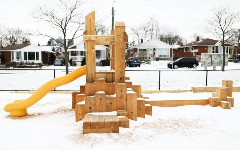 todays family child care natural wood playground slide