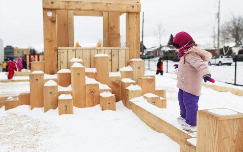 todays family child care playground wood balance beam climber