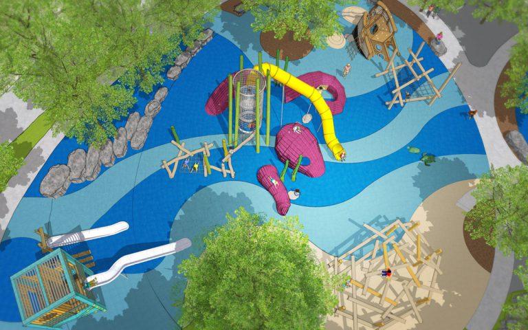 St Pete Pier wood playground lifeguard tower octopus shipwreck log climber