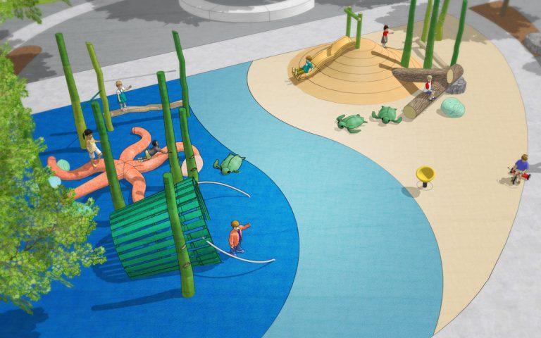 Florida natural destination playground custom wood starfish bucket