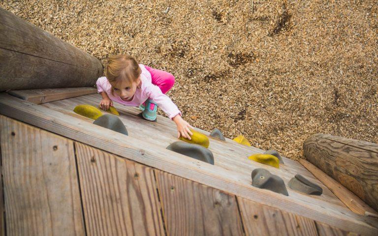 natural playground climbing wall